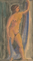 Arthur Kitching (1912-1981) - 1971 Pen and Ink Drawing, Standing Nude