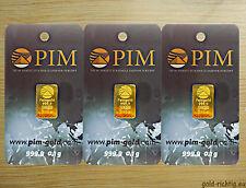 3x Goldbarren á 0,10 Gramm - PIM Gold Barren 0,1g 0,10g 0,3g --> 3er SPARSET <--