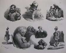 Lithographie ancienne originale Bellangé costumes romantisme soldats portraits