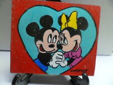 """Mickey / Minnie"" Hand Painted On Tile With Easel By Artist W. W. Hoffert"