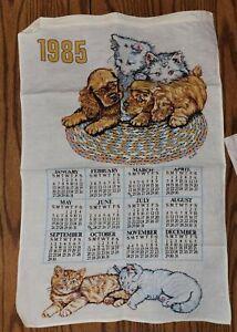 Vintage 1985 KITTENS AND PUPPIES Calander Tea Towel Dish Towel