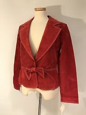 BOSTON PROPER GENUINE LEATHER RUSTY RED CONTRAST STITCHING JACKET COAT 14 NWT