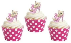 Cat Cute Pink Stand Up Cup Cake Toppers Edible Birthday Party Decorations