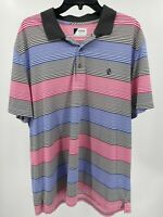 Izod Men's Polo Golf Shirt Size XL Blue Pink Gray Striped SS Top Pre-owned