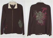 Units Brown Floral Full Zip Jacket L