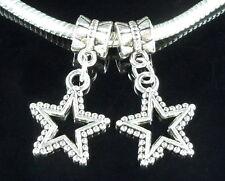 30pcs Tibetan Silver Star Dangle Charms Beads Fit European Bracelet ZY89