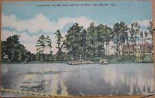 1940 Linen: Country Club & Lake- Salisbury, Maryland MD