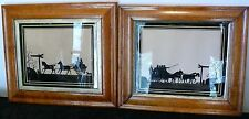 1800'S REVERSE PAINTED GLASS SILHOUETTES ENGLISH RARE HORSE AND CARRIAGE DERBY