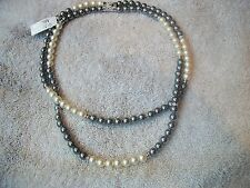 NOLAN MILLER 2 Tone Faux Pearl NECKLACE & Clear Austrian Crystal White Gray NEW