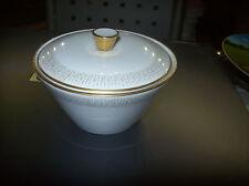 Zuckerdose Königl. pr. Tettau weiß mit Goldrand und grauem Dekor schlichte Form