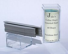 """40 Metal Collar Stays For Dress Shirts 2.5 & 3"""" Inch Stainless Steel Jakes"""