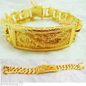 Dragon 22K 23K 24K THAI BAHT YELLOW GOLD GP  Men's Bracelet 7.5 inch 69 Grams