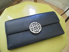 AUTHENTIC COACH BLACK LEATHER METAL LOCK WALLET