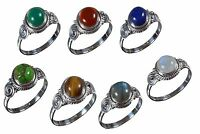 Handmade 925 Solid Sterling Silver Ring Natural Multi Gemstones US Size JR33