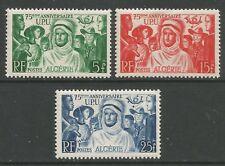 STAMPS-ALGERIA. 1949. 75th Anniv of U.P.U. Set. SG: 295/97. Mint Lightly Hinged,
