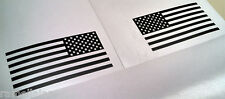 """Two 6"""" Matte Black US American Flags Sticker Patriotic Decal Reversed Muted"""
