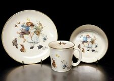 Vtg Gorham Norman Rockwell Childs 3 Piece China Set Spring Duet Cup, Bowl, Plate