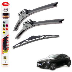 "Fits Mazda 2 2014-On Heyner Super Flat Premium Wiper Blades 22""17""14""C Set Of 3"
