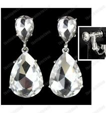 CLIP ON big GLASS CRYSTAL DROP teardrop EARRINGS screw GREEN/AQUA/SILVER/GOLD