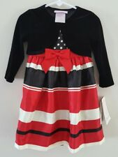 NWT BONNIE JEAN BABY 18 Month Dress Red Black Stripes Toddler Christmas Holiday