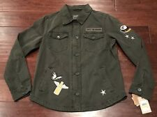 Levi LW7RC644 Women's Army Green 4 Pocket Patched Shirt Jacket Sz M