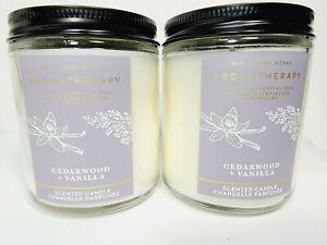 2 BATH BODY WORKS Aromatherapy CEDARWOOD & VANILLA Single Wick 7oz Candle NEW