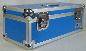"7"" Singles Vinyl Record Aluminium DJ Flight Carry Case Blue Storage 300 Tough"