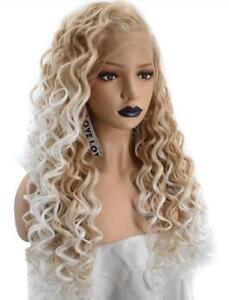 Natural Long Kinky Curly Ombre Platinum to dark Blonde Lace Front Women Full Wig