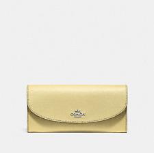 New Coach F54009 Slim Envelope Crossgrain Leather Wallet VANILLA/SILVER