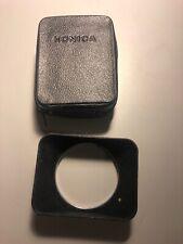 Old Vtg. Konica Rectangular Camera Lens Shade Hood 28mm F3.5 Used w/ Zipper Case