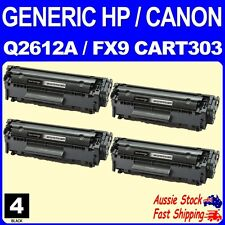 Generic 4x HP12A Q2612A Canon FX9 CART303 Black Toner for HP Laserjet 1010 M1005