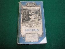 Antique Ordnance Survey District Map on Cloth 1937 London