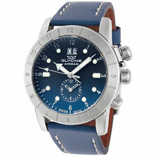 Glycine Men's GL0151 Airman 42 GMT 42mm Quartz Blue Dial Blue Leather Watch