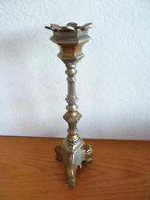 Mixed Metal Brass & Pewter Candle Stick 12""
