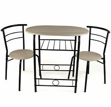 Breakfast Table Set With 2 Chairs Kitchen Seating Furniture Black Metal And Wood