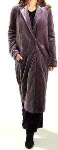 ASOS Purple Plum Velvet Quilted Velour long boho hippy warm winter Coat UK 8 10