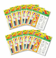 TINYMILLS Dinosaurs Color-in Sticker Set with Markers Party Favors, 12 Pack