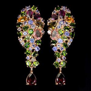 Unheated Pear Rhodolite Garnet Chrome Diopside Gems 925 Sterling Silver Earrings