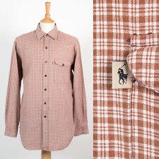 Homme polo ralph lauren brown plaid motif carreaux chemise wyatt style l