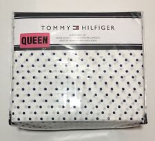 Tommy Hilfiger 4 Pc Queen Size Sheet Set Polka Dots Blue & White Easy Care. New