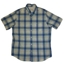 New listing RVCA Button Up T Shirt Mens Sz 2XL Blue White Plaid Skater Casual Surf