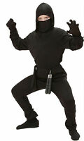 Boys Ninja Fancy Dress Black Costume Outfit Samurai Warrior Karate Age 5-13