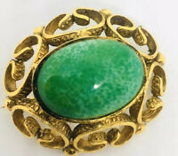 Beautiful Peking Glass Brooch Ornate Scrolling Dragon Egg 3D Vintage Jewelry