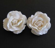 Ivory Rose Wedding Bride Hair Flower Clip Barrette - One Pair