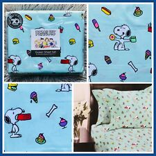 Berkshire Blanket Co Peanuts Snoopy Sweet Treats Snack Attack Blue Queen Sheets