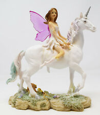 Woodland Fairy Riding White Unicorn Ornament Figurine Mythical Fairies Fantasy