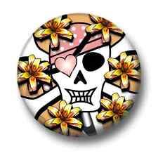 Skull & Bones 1 Inch / 25mm Pin Button Badge Flowers Emo Goth Black Pirates Fun