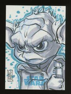 Star Wars Journey to Force Awakens Sketch Card YODA LORD MESA 1/1