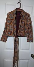 Vintage Ladies Tie Silk Boho Gypsy Embroidered Sequined Paisley Jacket Size 2