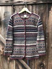 SKYR Sweater Sz M Cardigan Nordic Fair Isle 100% Wool Long Oversized Slouchy